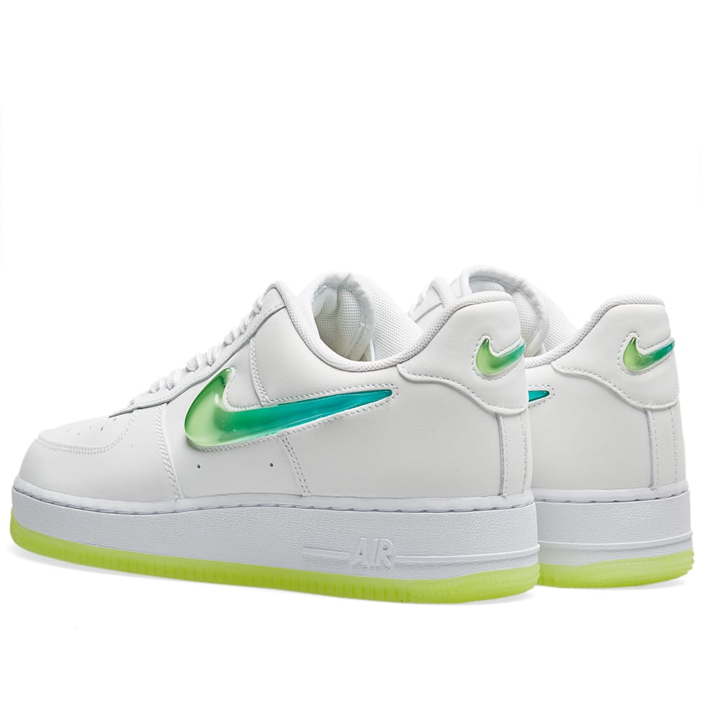 half off 9a0a2 b3392 Nike Air Force 1  07 Premium 2  Jelly Swoosh  White, Volt   Jade   END.