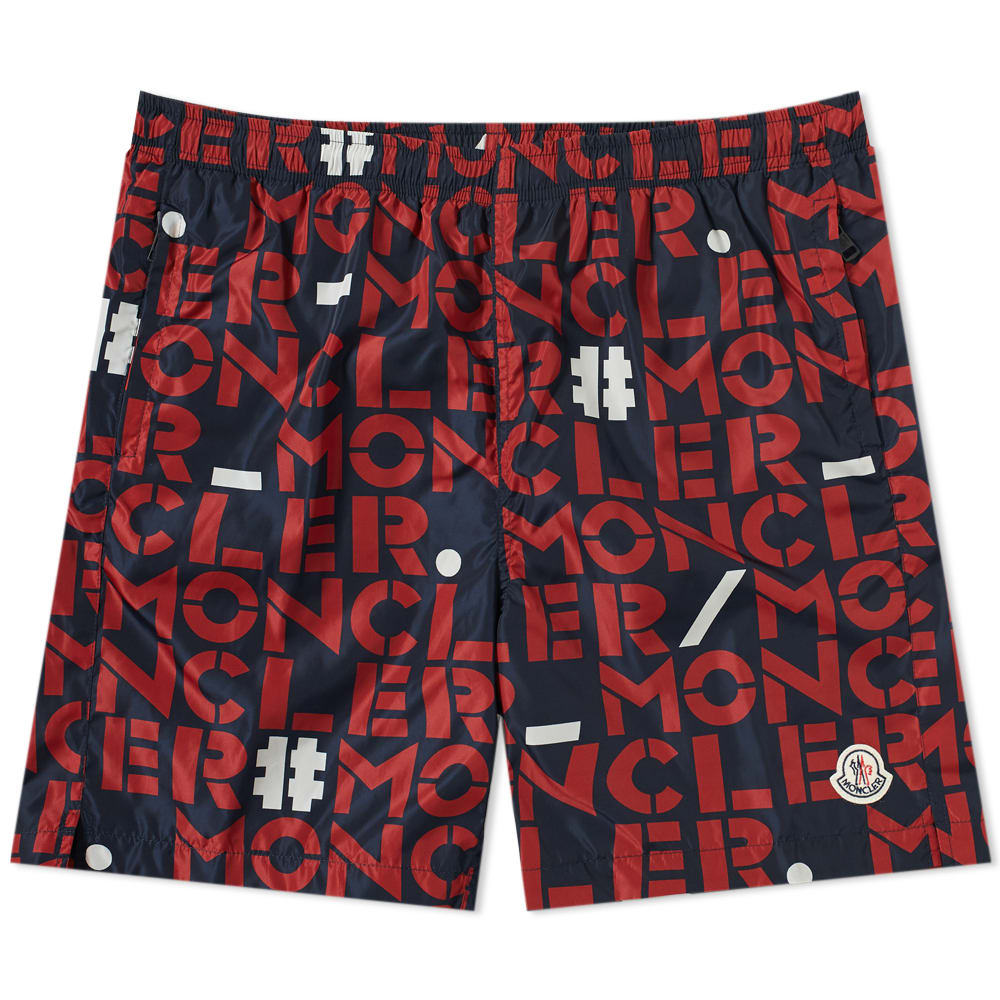 1223670d31 Moncler Genius - 2 Moncler 1952 - All Over Text Logo Swim Short Navy, Red &  White | END.