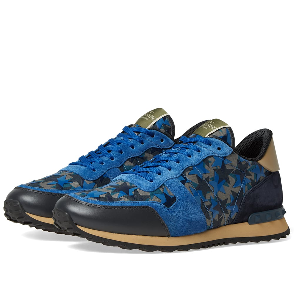 e5403e41b2e70 Valentino Star Camo Rockrunner Sneaker Blue, Navy & Beige   END.