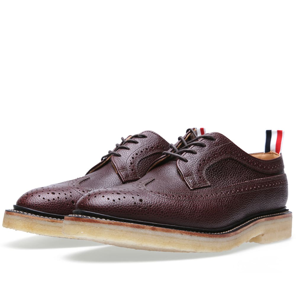 Thom Browne Classic Sole Wingtip Brogue (Brown Pebble Leather)