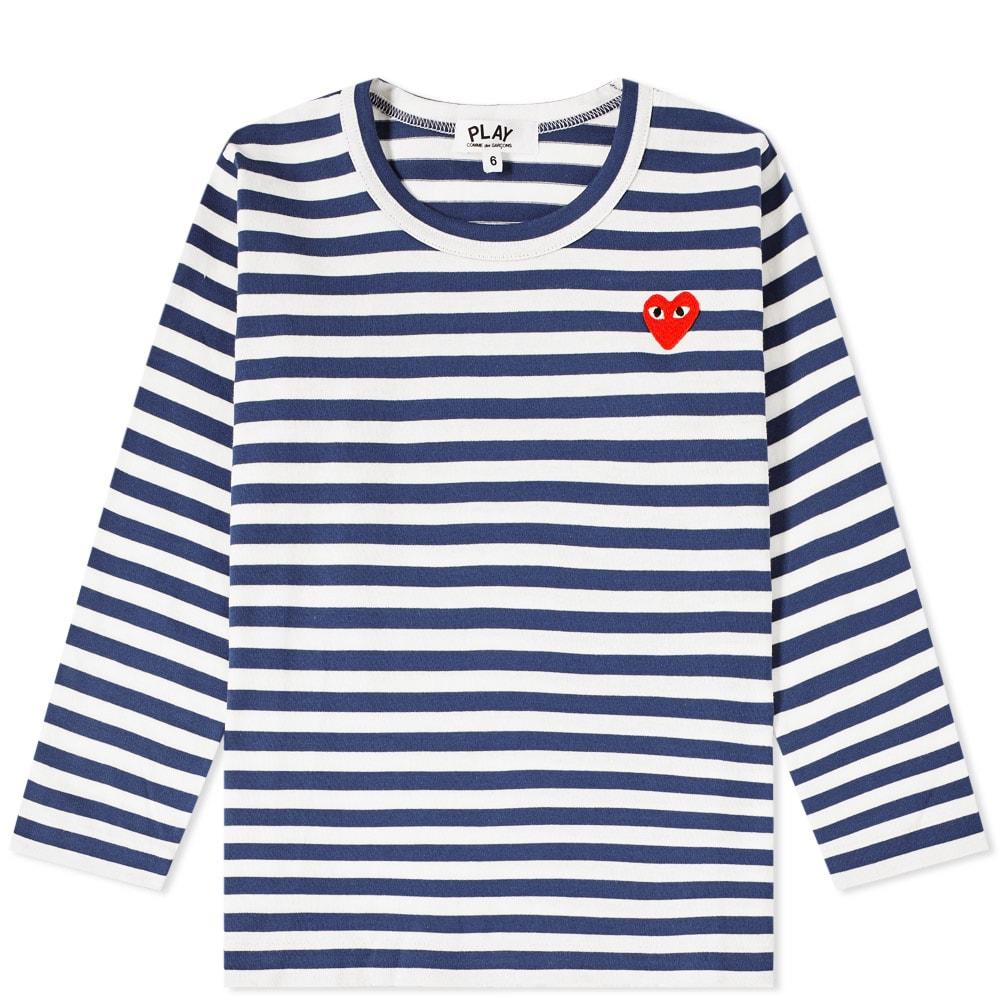 eeac4054ccbee8 Comme des Garcons Play Kids Long Sleeve Stripe Tee Navy   White
