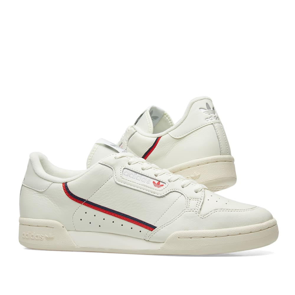 wholesale dealer 02fc6 75e23 Adidas Continental 80. Tint, Off-White   Scarlet