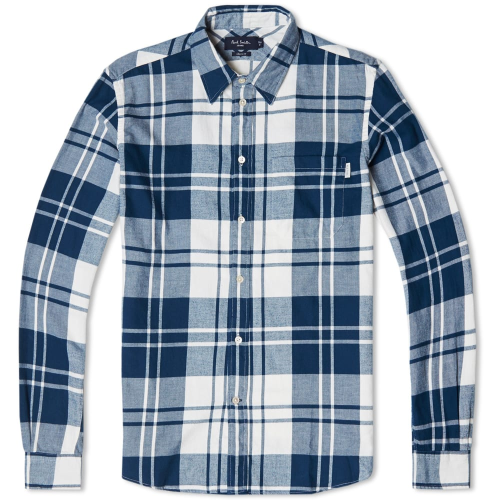 Paul Smith Oversize Check Flannel Shirt Blue White