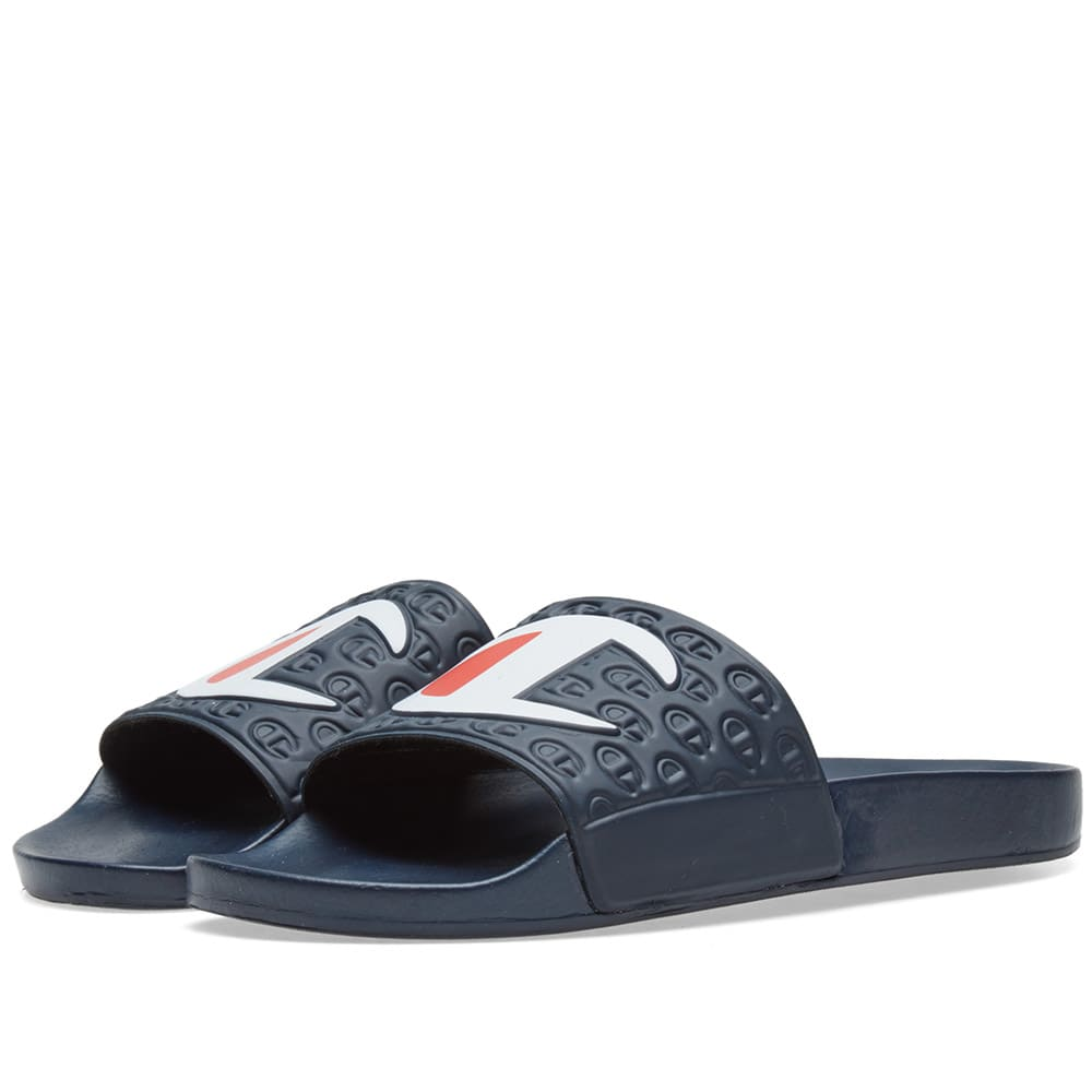 2daa95fb7536 Champion Logo Slide Navy   White