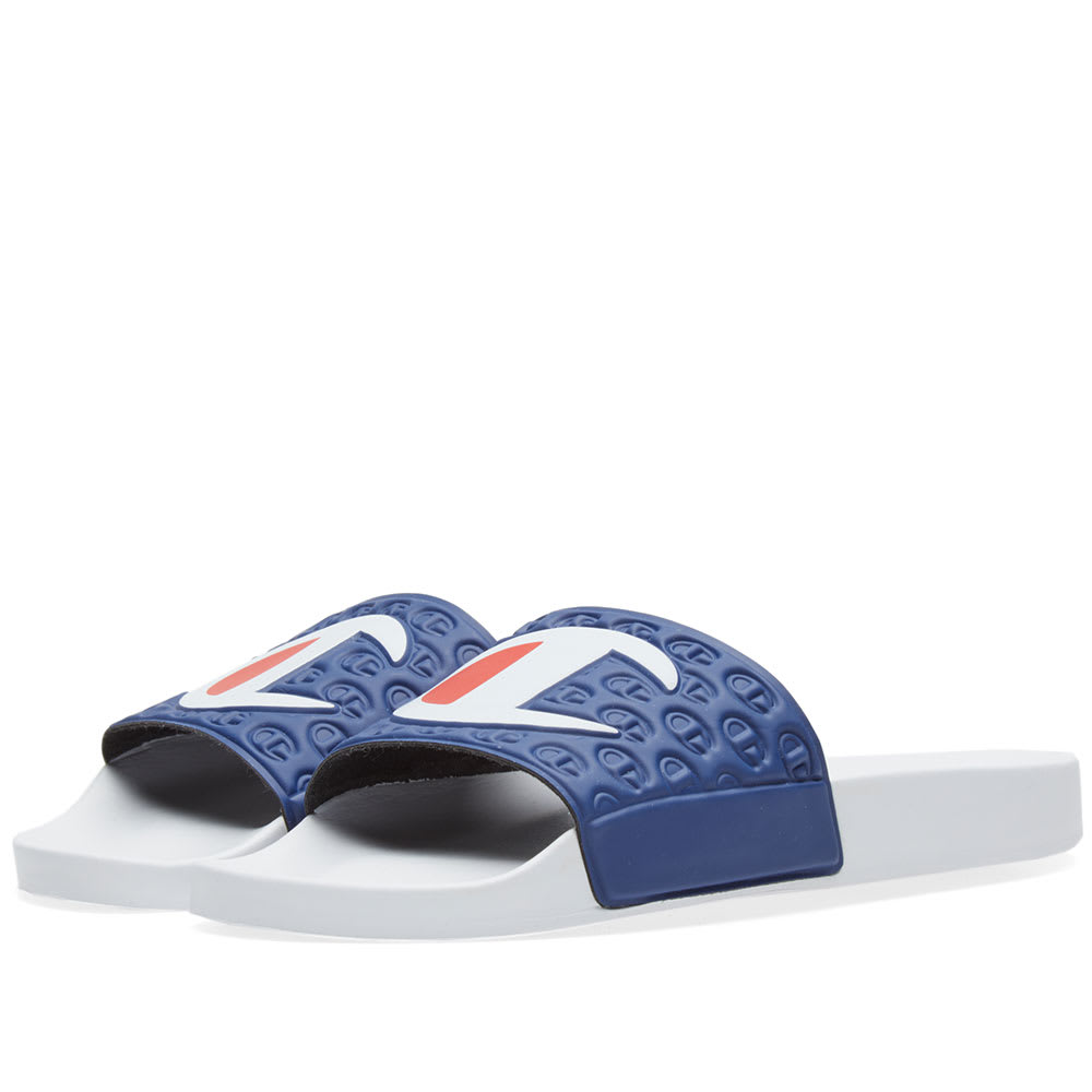 eca2ece1b Champion Logo Slide White   Navy