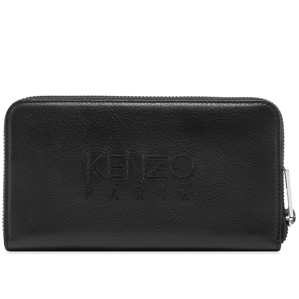 3be6c99c18 Kenzo Long Zip Embroidered Leather Wallet