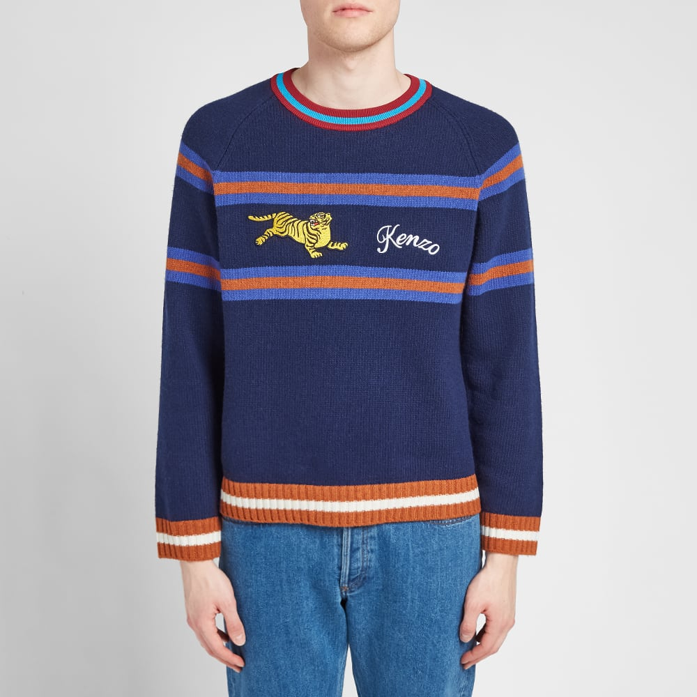 68279f19f5e16 Kenzo Striped Jumping Tiger Knit Navy Blue | END.