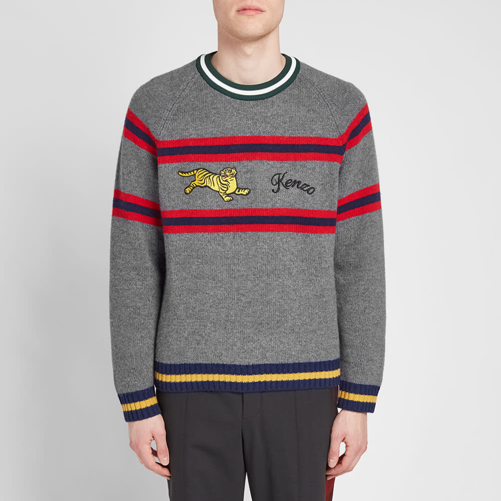 70a65582a199f Kenzo Striped Jumping Tiger Knit Pale Grey | END.