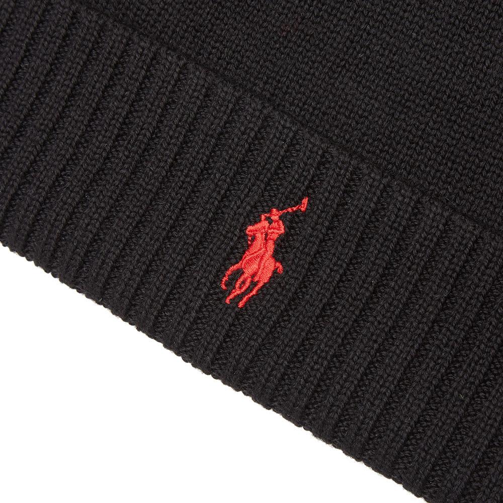 6b3f020b1237a Polo Ralph Lauren Merino Wool Beanie Polo Black