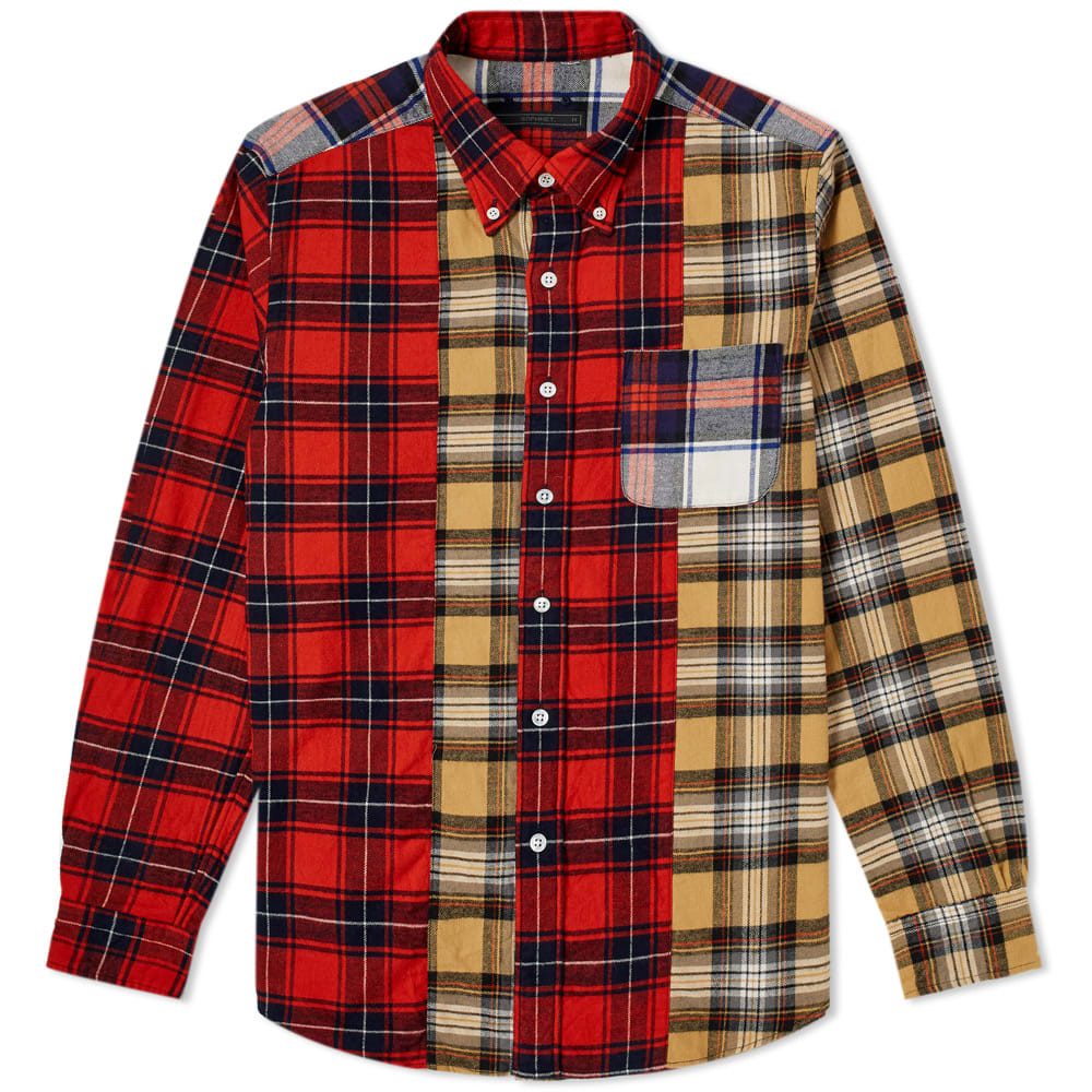 SOPHNET Sophnet. Mix Flannel Check Shirt in Red