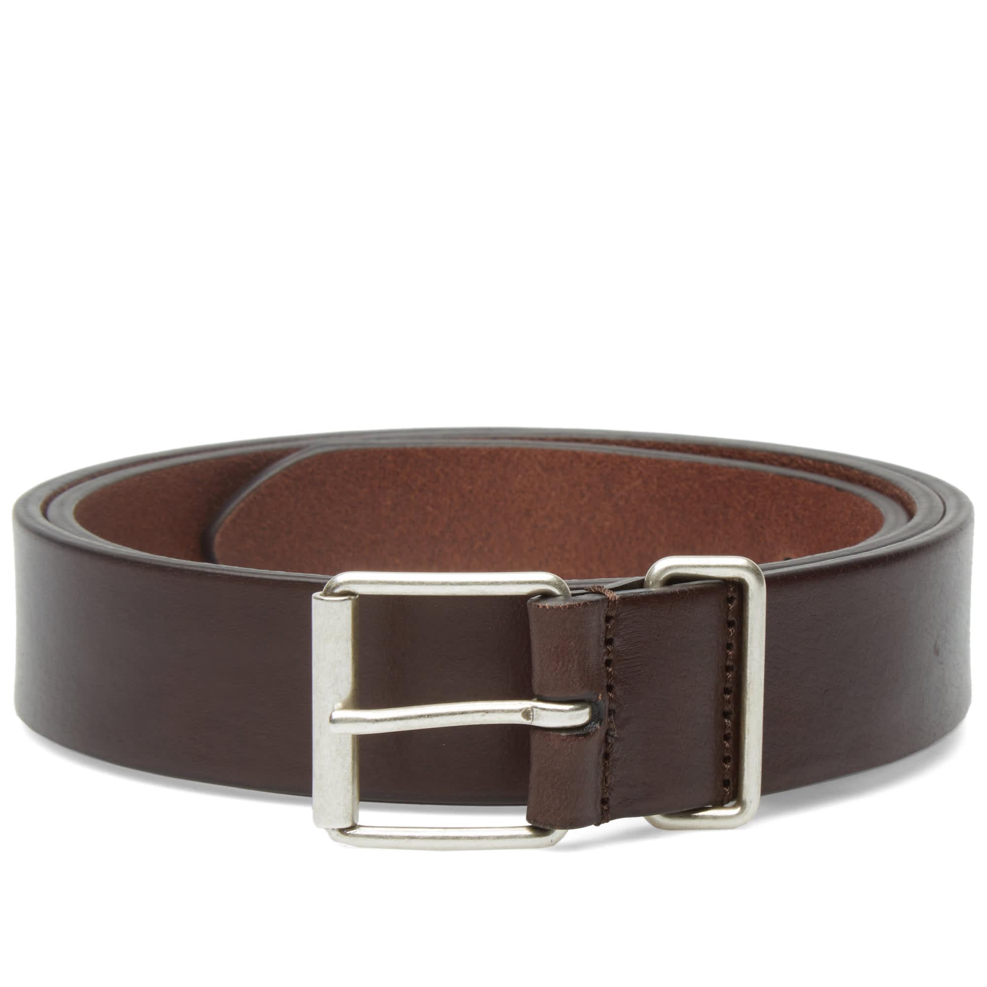 s slim leather belt mahogany