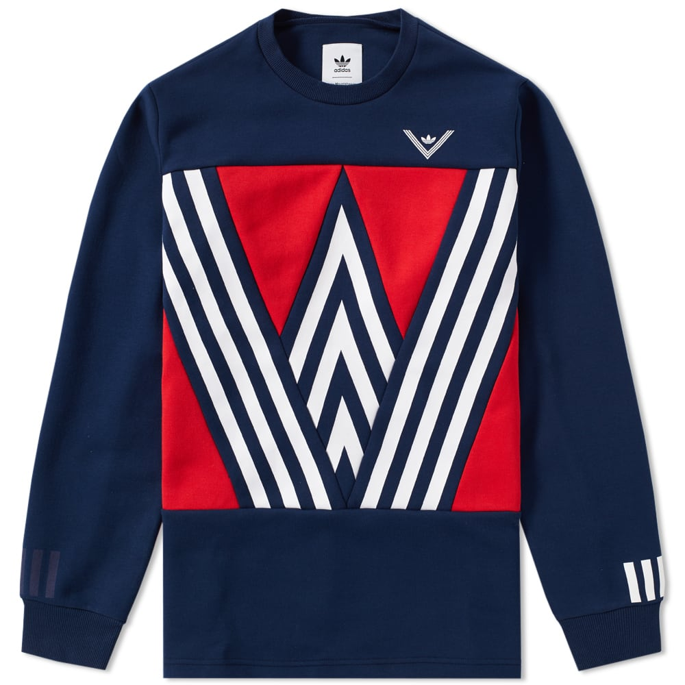 Adidas X White Mountaineering Logo Crew Sweat Collegiate Navy End