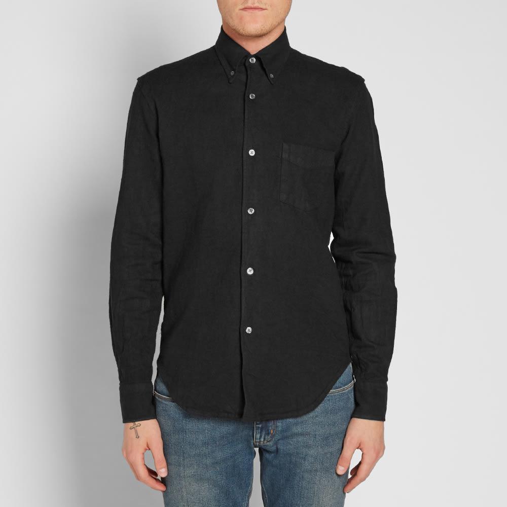 Our legacy everyman 1950s button down shirt heavy black for Black oxford button down shirt