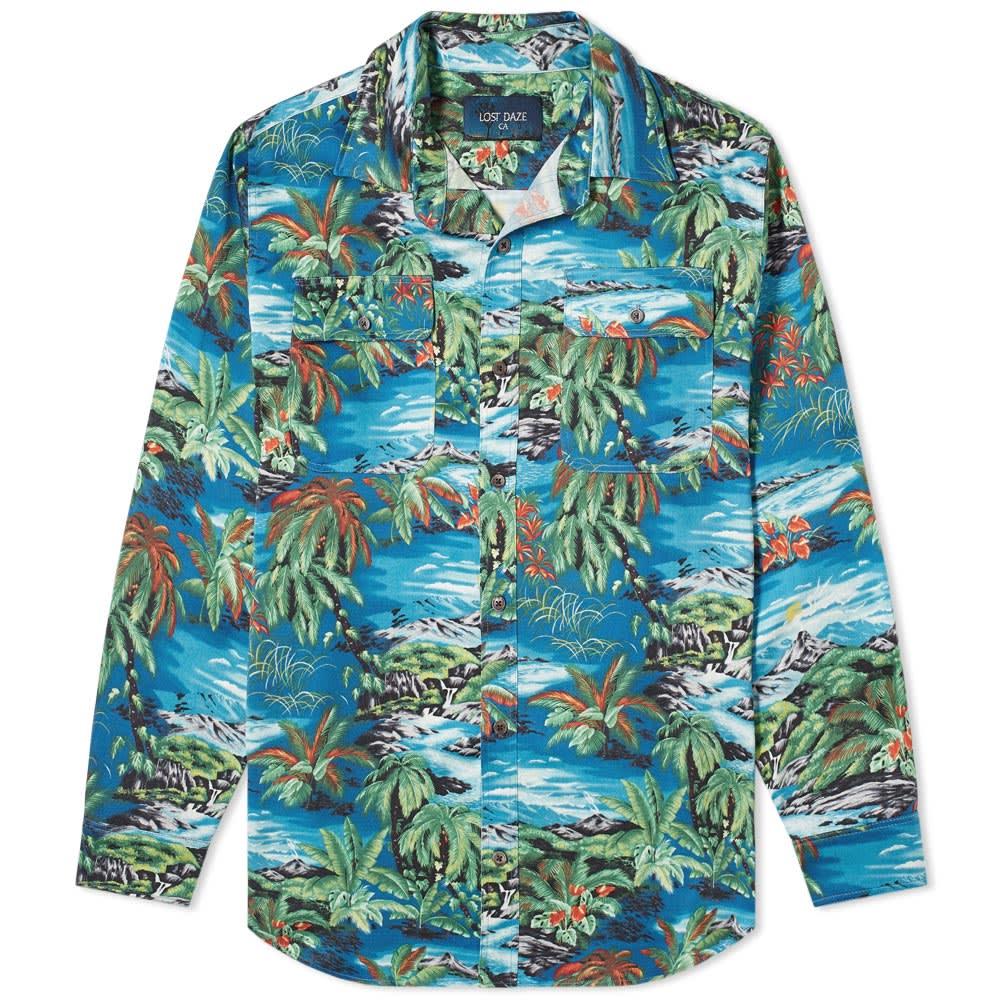 1a24b398196d Lost Daze Aloha Shirt Blue