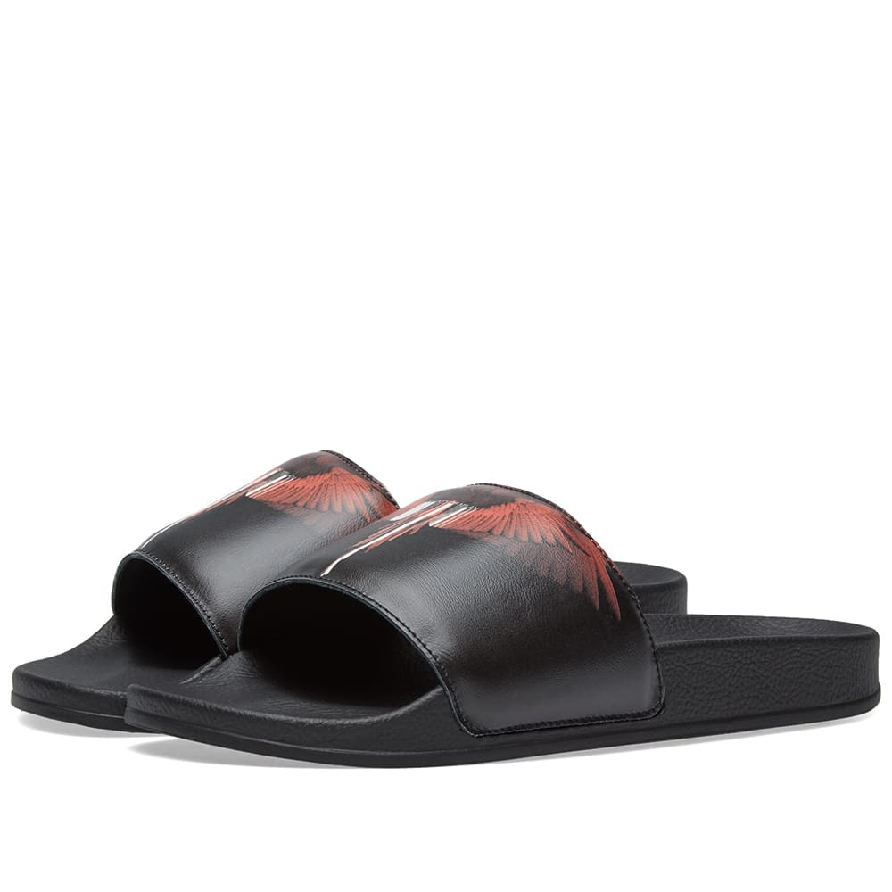 MARCELO BURLON COUNTY OF MILAN WINGS BARCODE PRINTED SLIDE SANDALS W5MnL