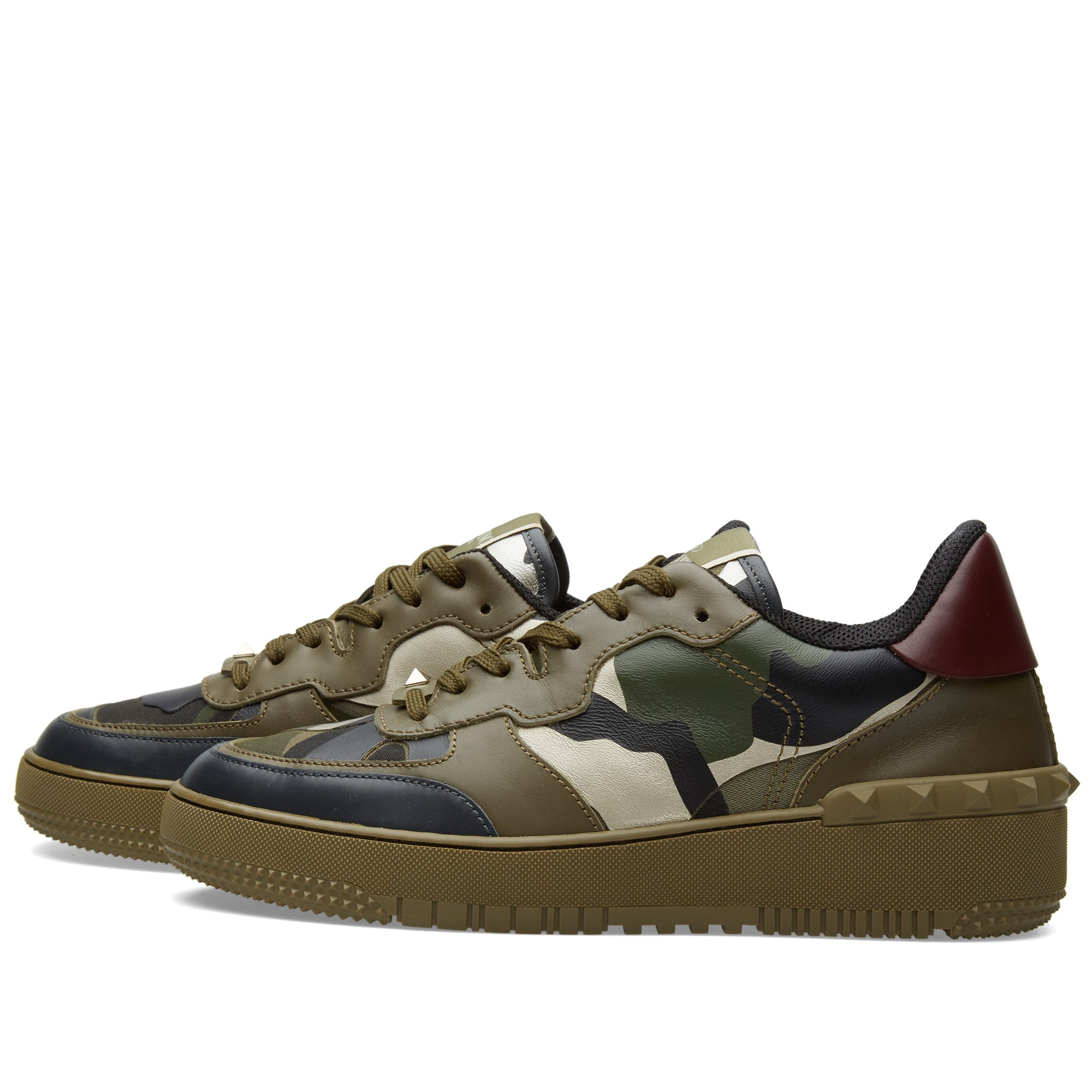 c72b963708d61 Valentino Rock BE Low Top Sneaker Green Camouflage | END.