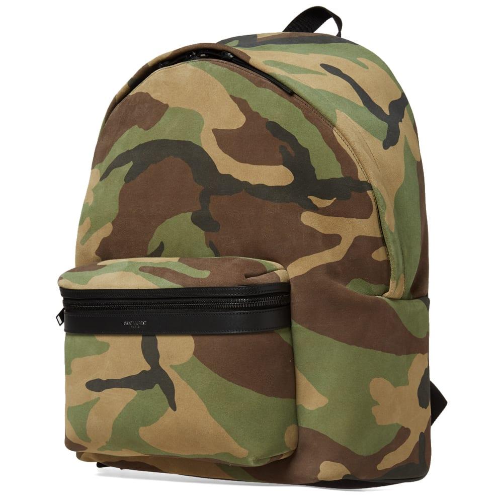 e00225624bc Saint Laurent Suede Backpack Camo   Black