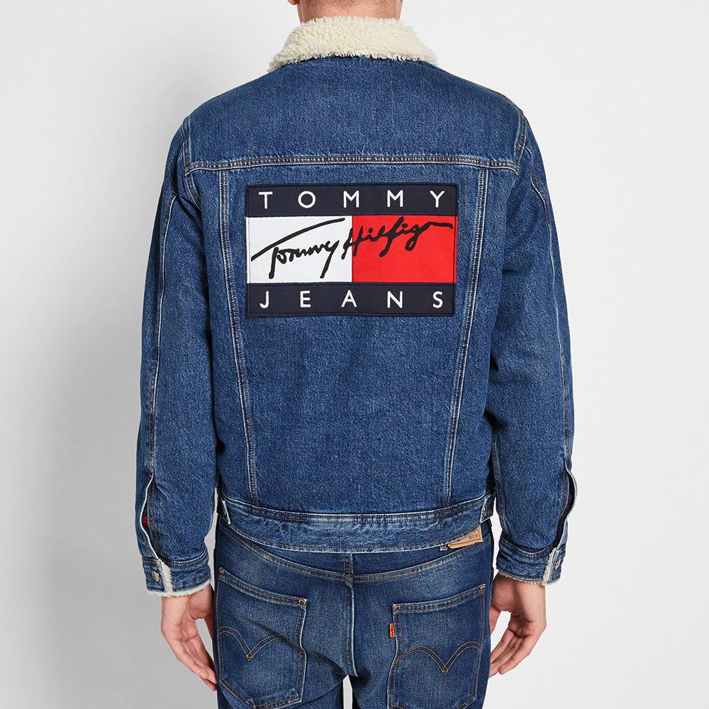 tommy jeans denim sherpa jacket indigo. Black Bedroom Furniture Sets. Home Design Ideas