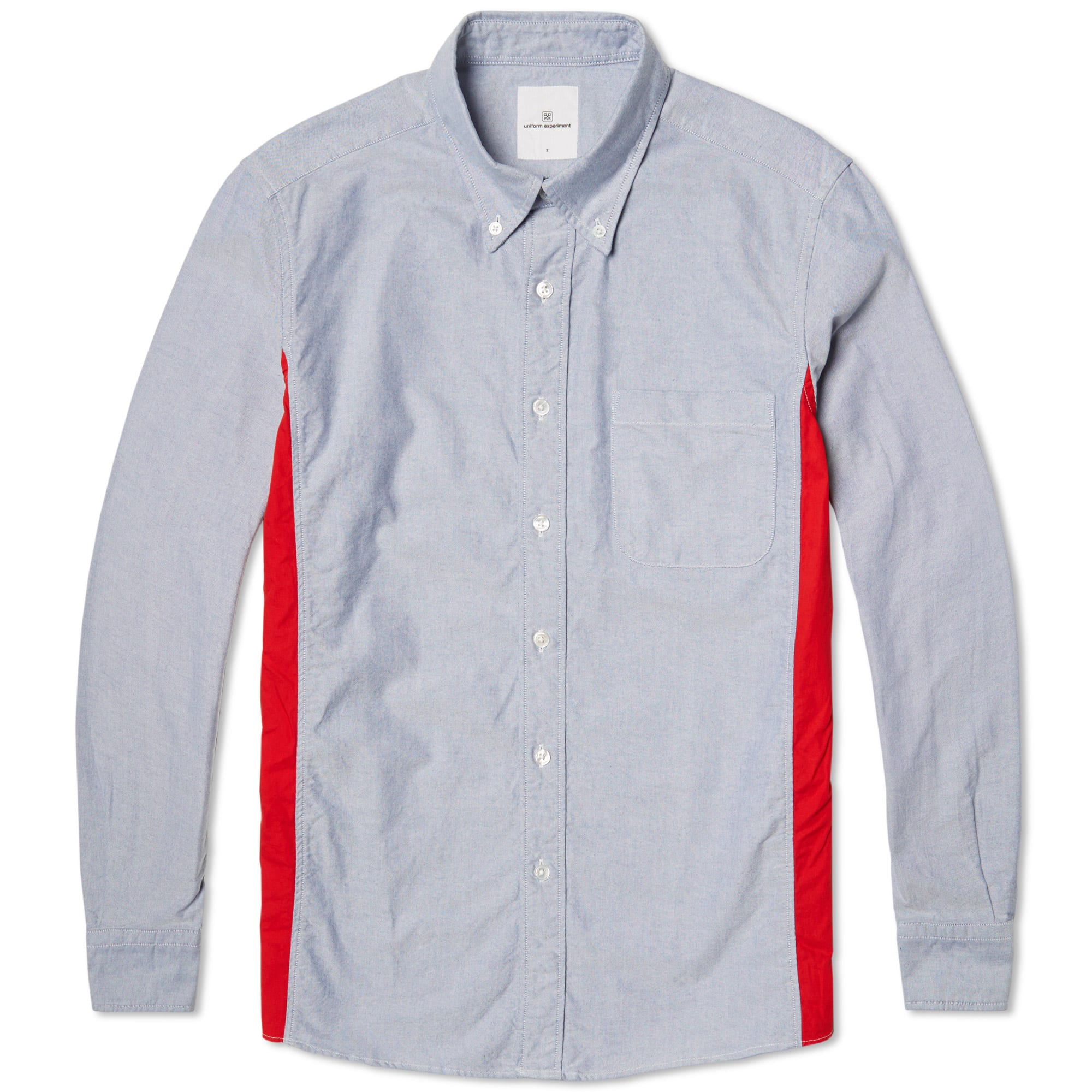 Uniform experiment button down logo panel shirt navy for Button down uniform shirts