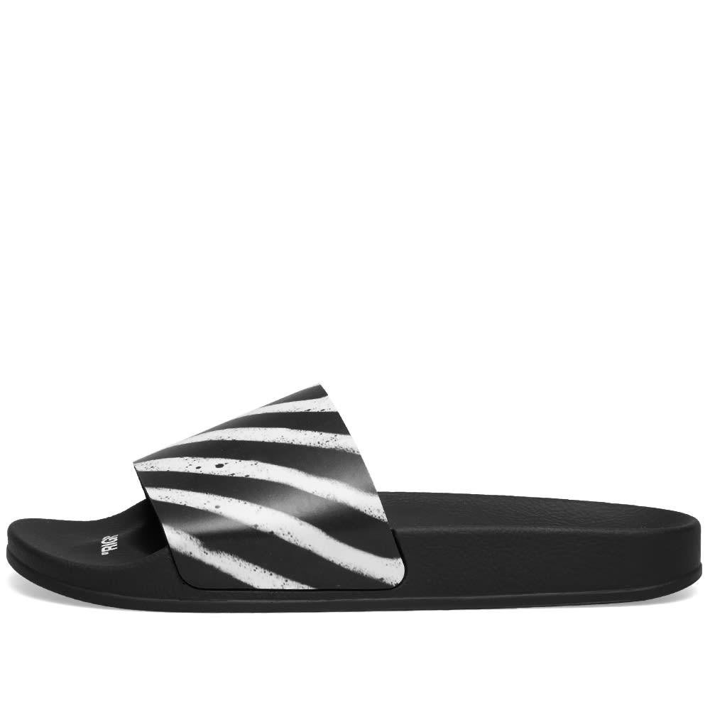 6e7e9e051 Off-White Spray Stripe Slider Black & White   END.