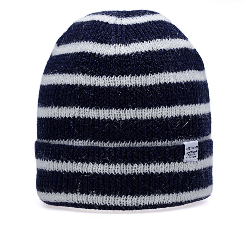 8f0c0af283a Norse Projects Striped Merino Beanie Dark Navy