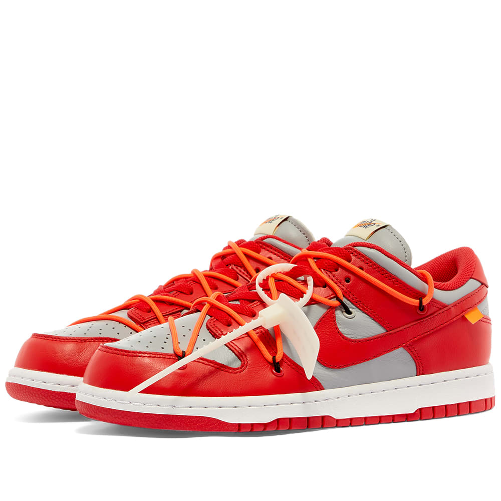 Off White x Nike Dunk Low Red Grey