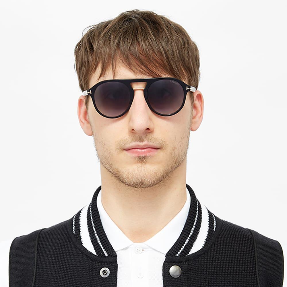 Tom Ford Men Sunglasses FT0675-01W Shiny Black Blue Gradient Lenses