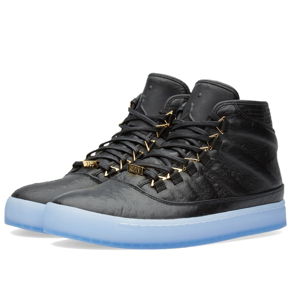 004cf9629b5 Nike Air Jordan Westbrook 0 Premium Black, Metallic Gold & Clear | END.