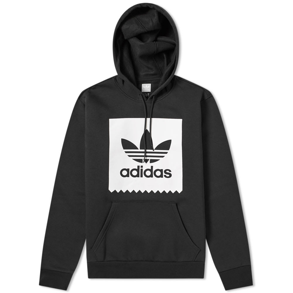 New $70 Adidas mens Trefoil heavyweight hoodie pullover sweatshirt Black