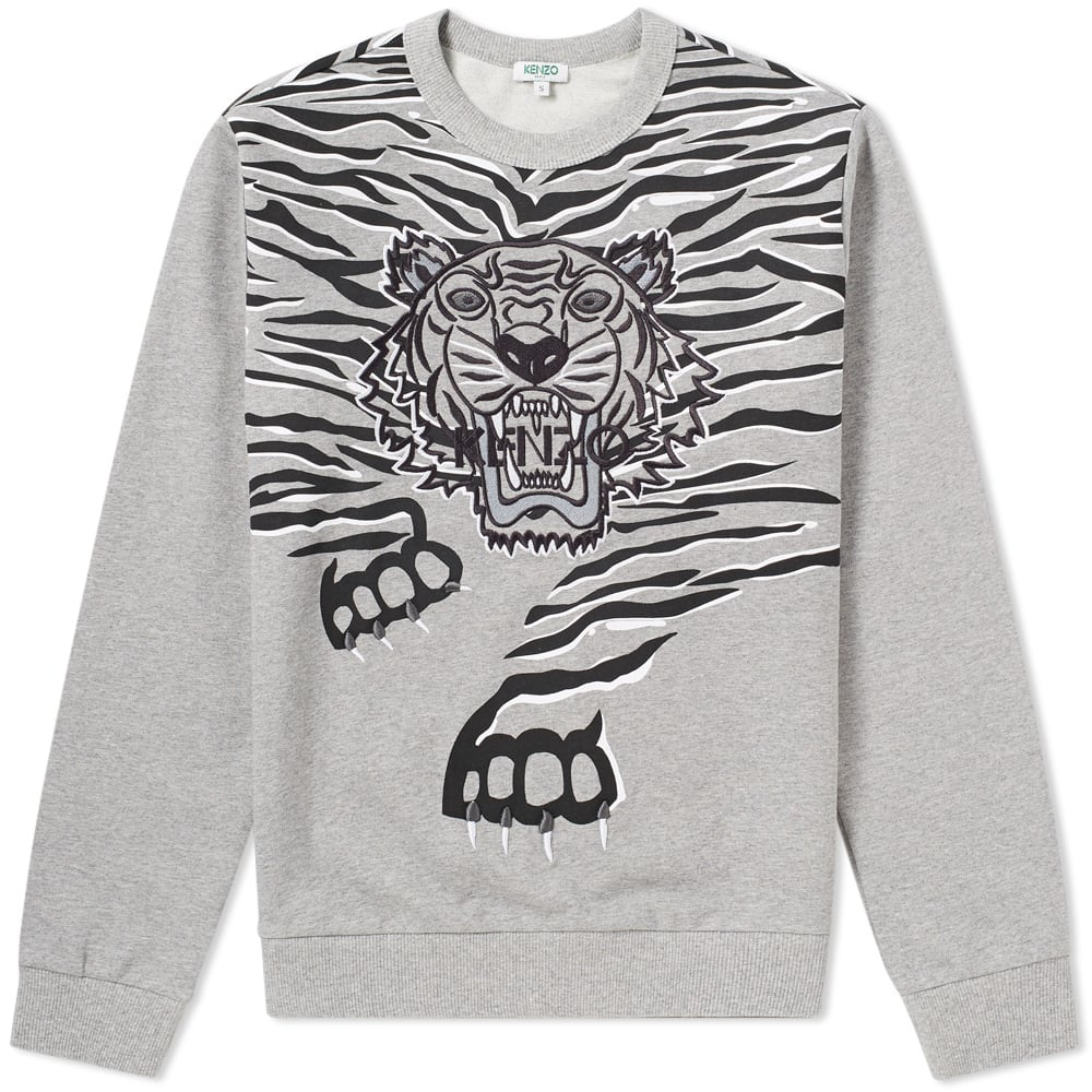 13422baf0a3 Kenzo Tiger Claw Embroidered Crew Sweat Grey
