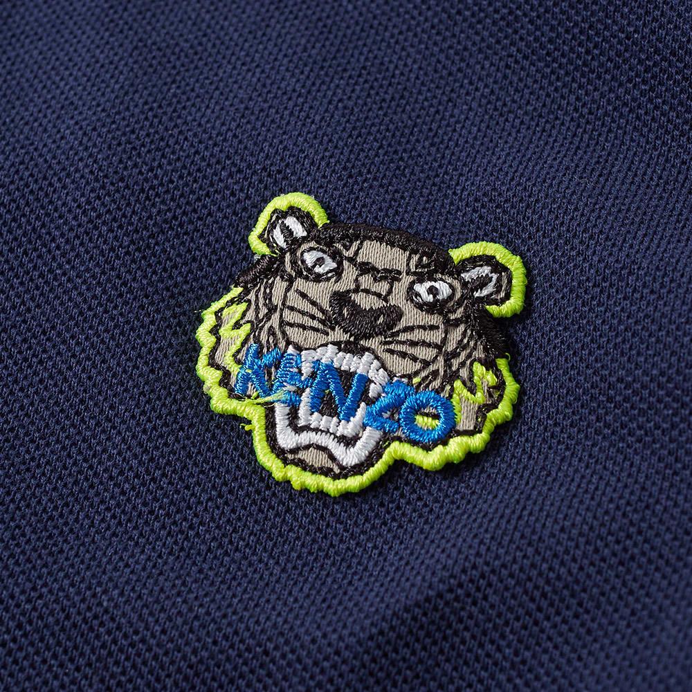 KENZO TIGER PURPLE COTTON POLO, BLUE