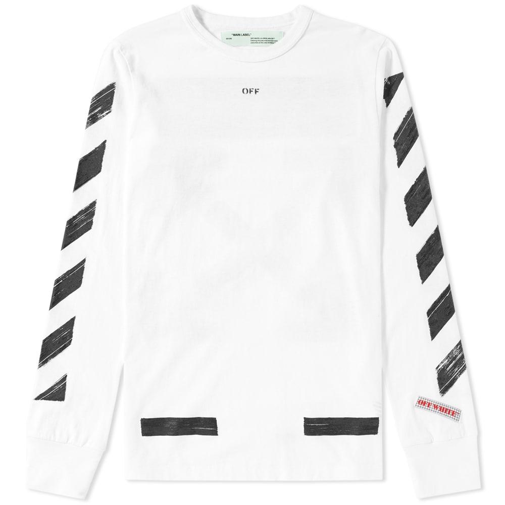 83e332ce Off-White Diagonal Brushed Long Sleeve Tee White & Black | END.