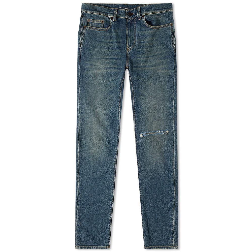 Saint Laurent Skinny Fit Low Waist Jean In Blue