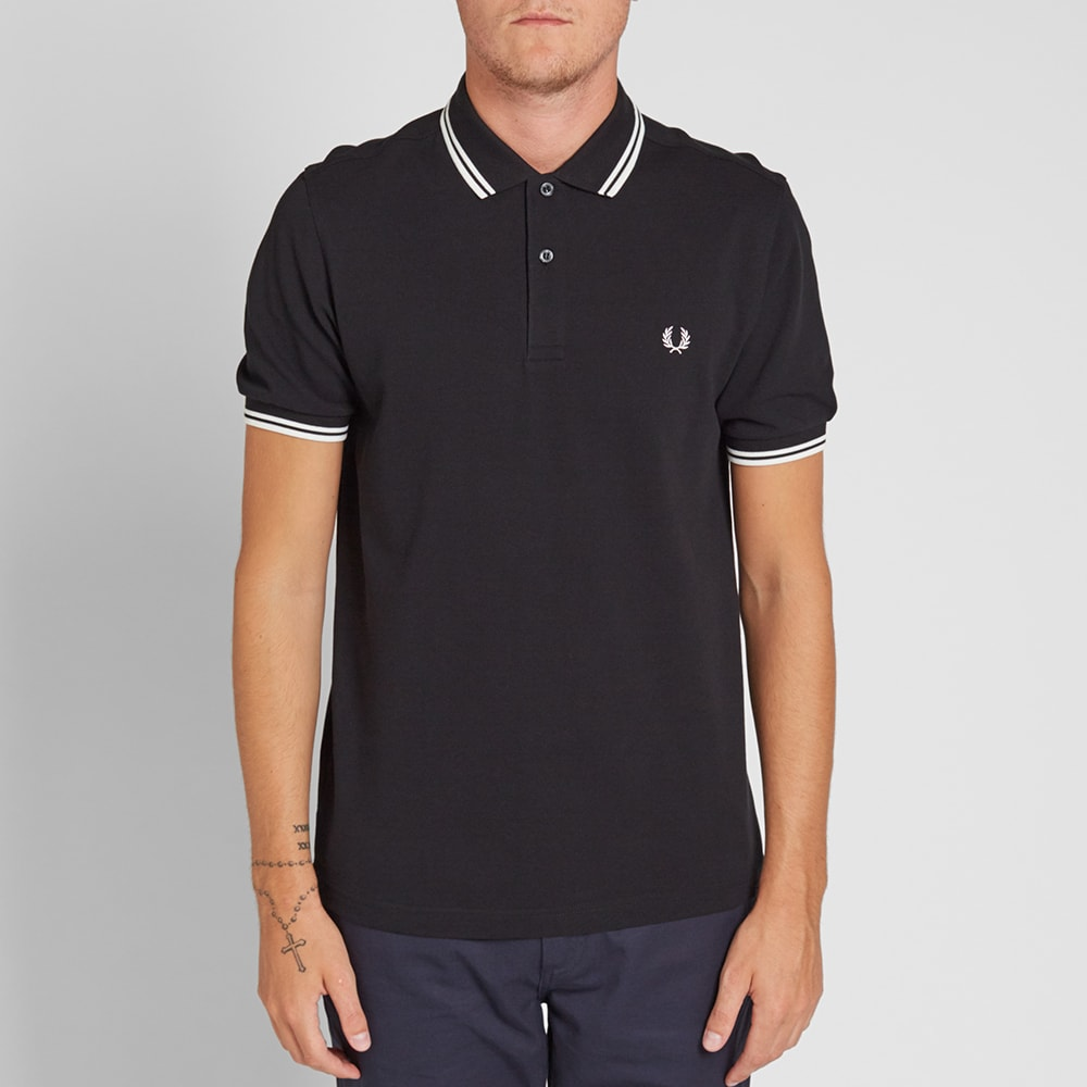fred perry slim fit twin tipped polo black porcelain. Black Bedroom Furniture Sets. Home Design Ideas