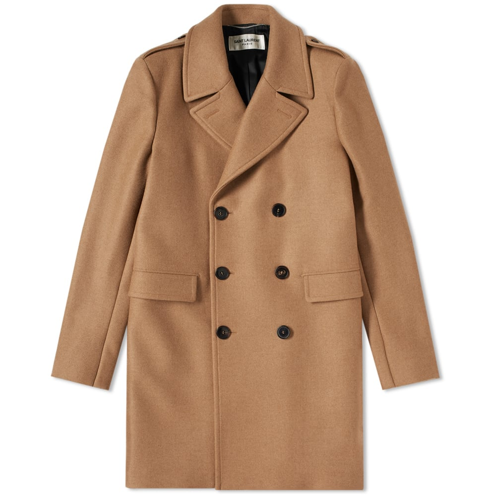 b7ffd91f4f3 SAINT LAURENT Double Breasted Coat, Brown   ModeSens