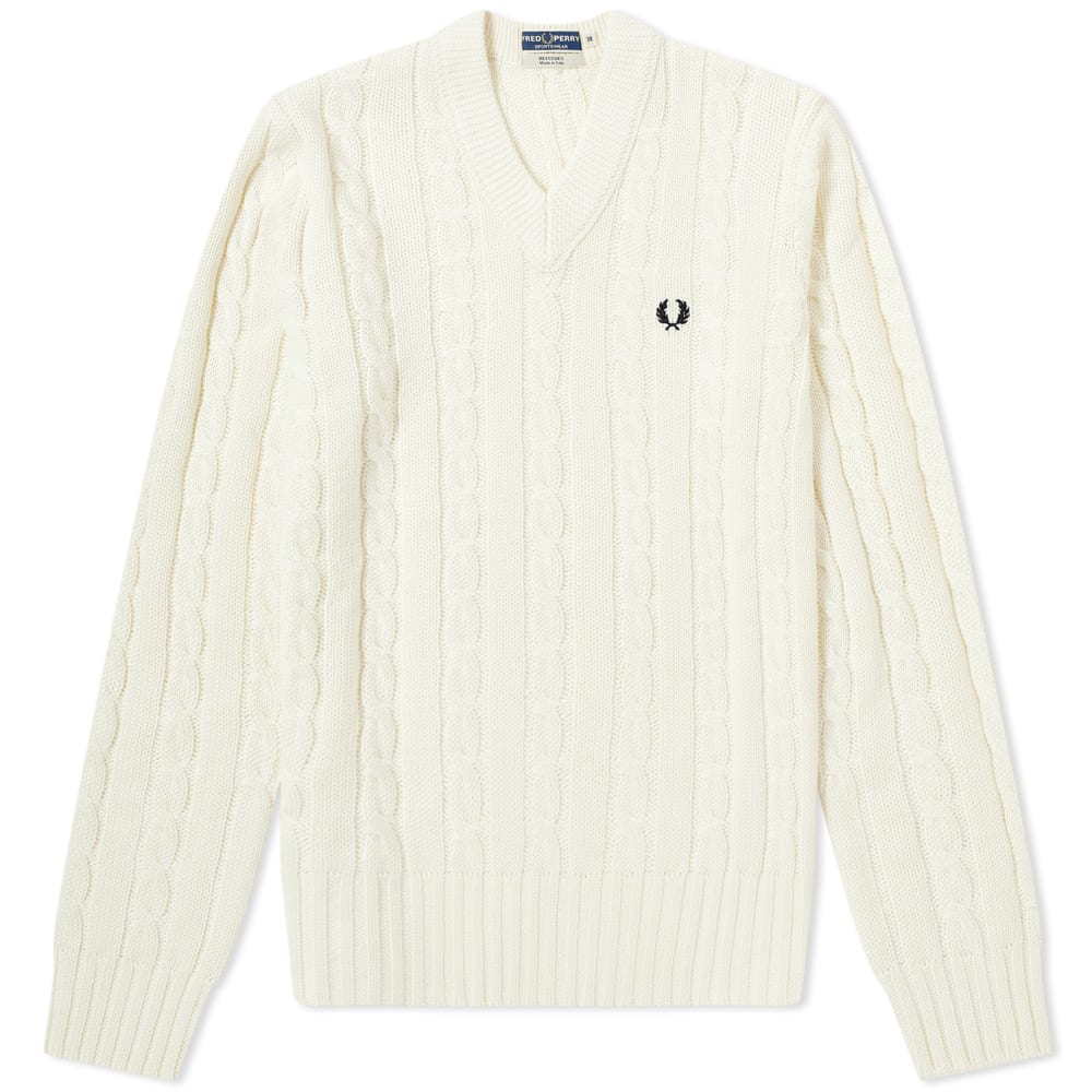 d2603cd12c4 Fred Perry V-Neck Cable Knit