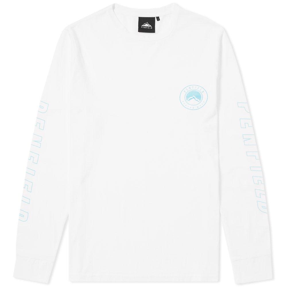 PENFIELD Aloka Sleeve Logo Print Long Sleeve Top In White - White