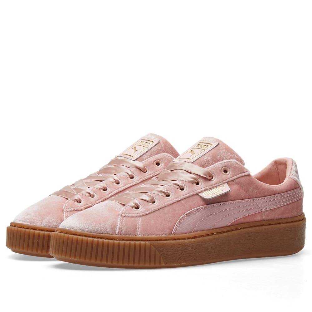 PUMA Womens Pink Gum Velvet Basket Platform Trainers Size 3 8 UK 8 Black
