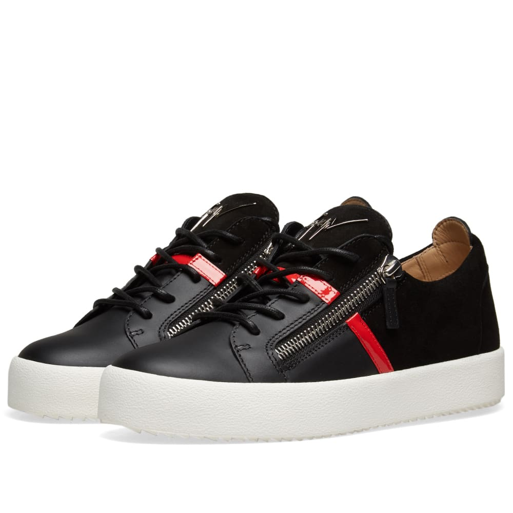 47eab41a0a732 Giuseppe Zanotti Double Zip Leather Band Sneaker Black & Red | END.