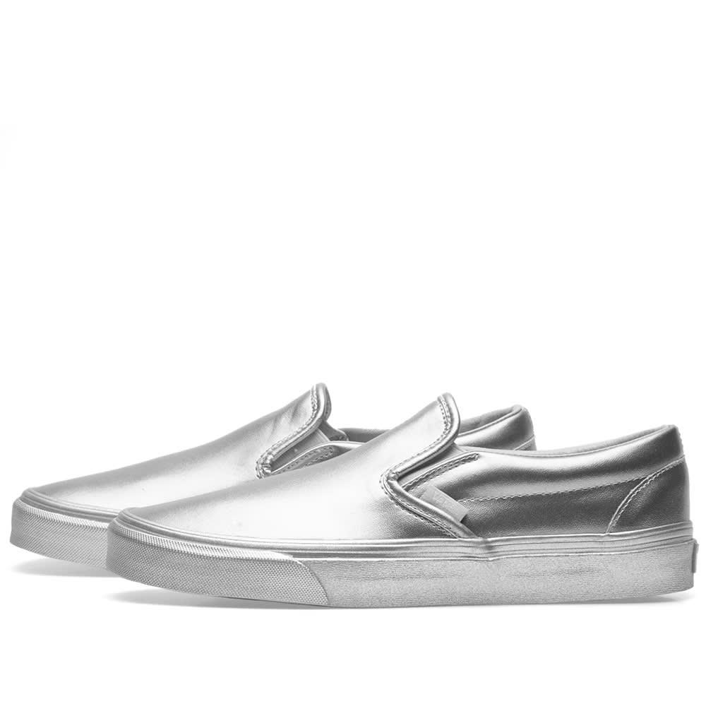 e808c3e2ba547 Vans Classic Slip On Metallic Sidewall Silver | END.