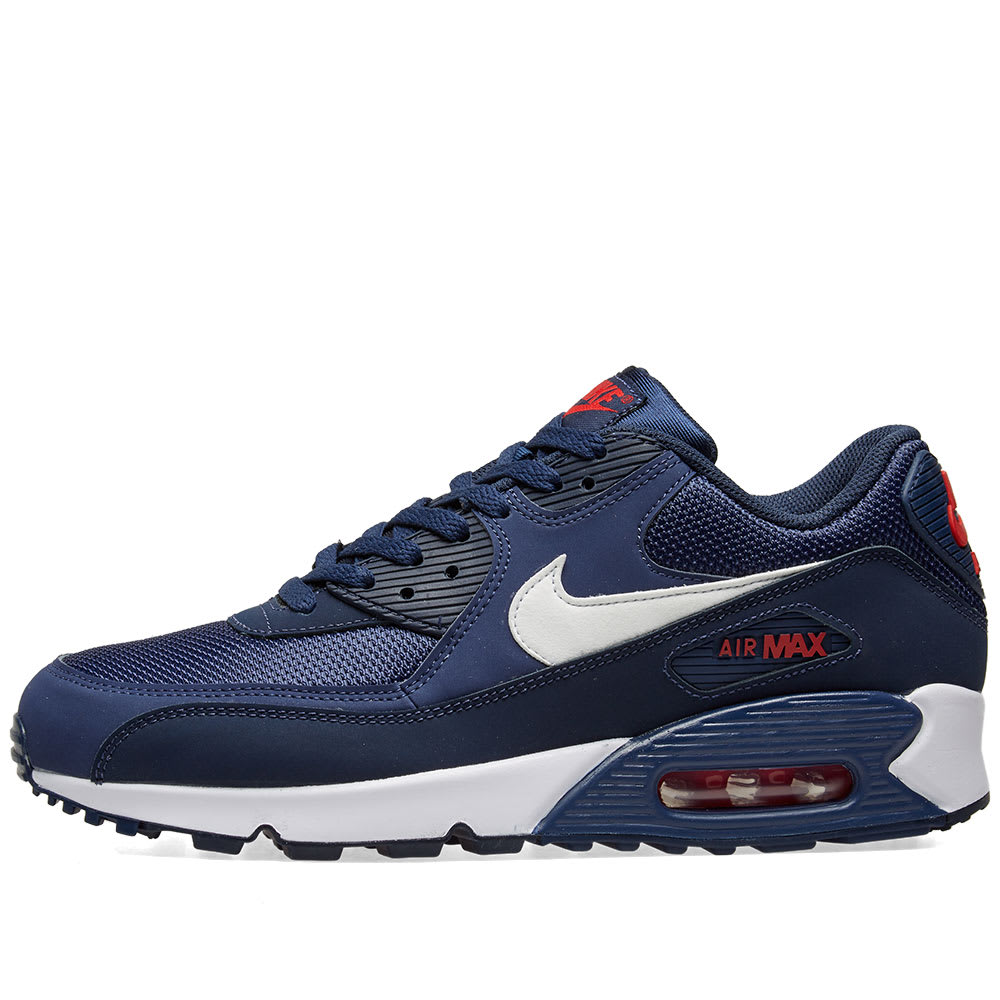 purchase cheap c3051 7fb47 Nike Air Max 90 Essential Midnight Navy, White   Red   END.