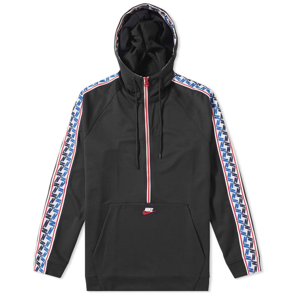 77a647052800 Nike Taped Poly Half Zip Hoody Black