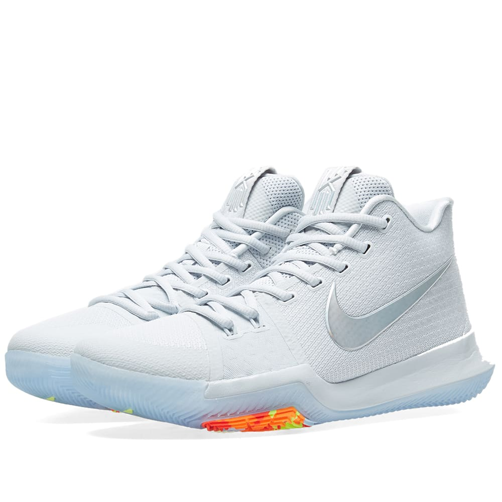 new arrival 976fa 737d9 Nike Kyrie 3  Time to Shine  Pure Platinum, Multi   Volt   END.