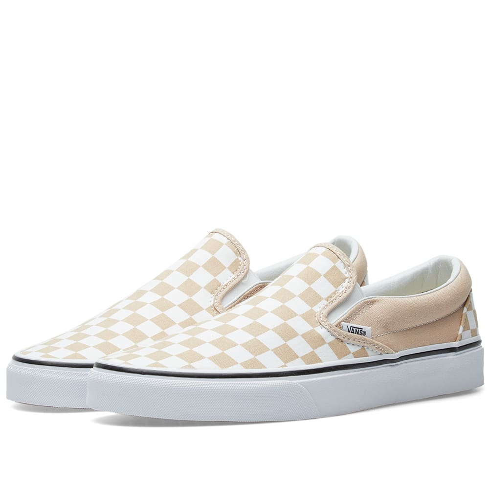 vans slip on checkerboard white
