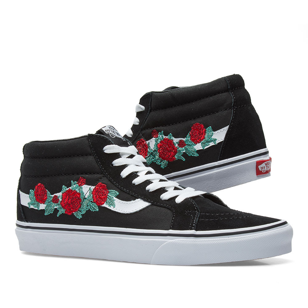 bf08885e8700 Vans Sk8-Mid Reissue Rose Thorns Red   True White