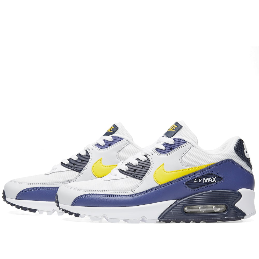 best authentic 441ec af423 Nike Air Max 90 Essential White, Tour Yellow   Blue   END.
