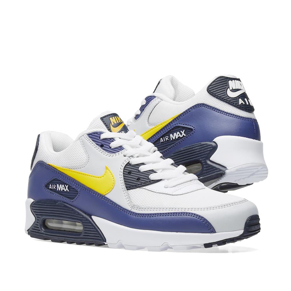online retailer d16c2 dc62d Nike Air Max 90 Essential. White, Tour Yellow   Blue