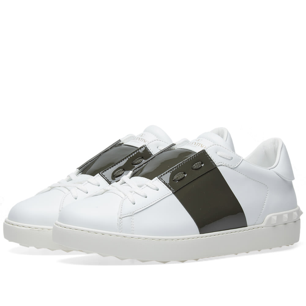 Leather Open Stripe Sneakers in White