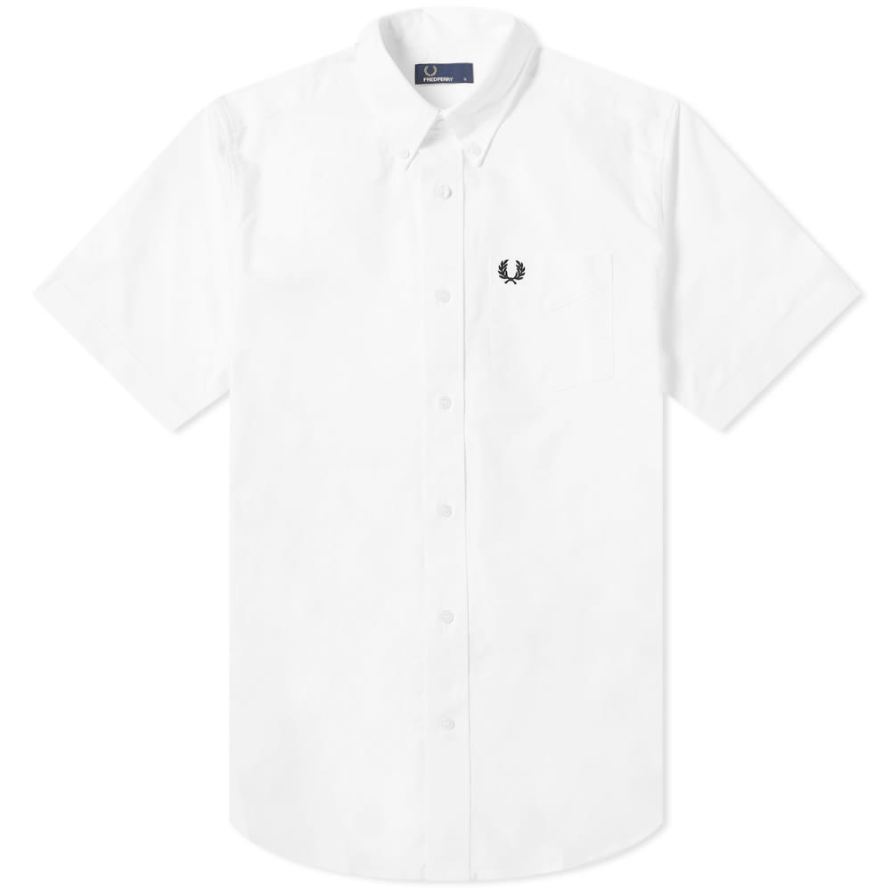 3ded6cd6d Fred Perry Authentic Short Sleeve Button Down Oxford Shirt White