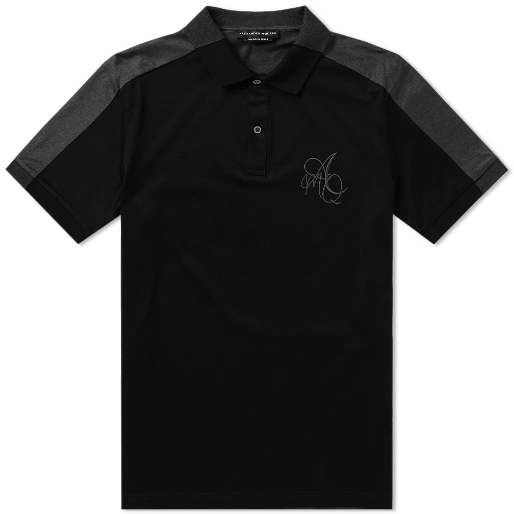 Alexander Mcqueen Butterfly Embroidered Polo Shirt In Black
